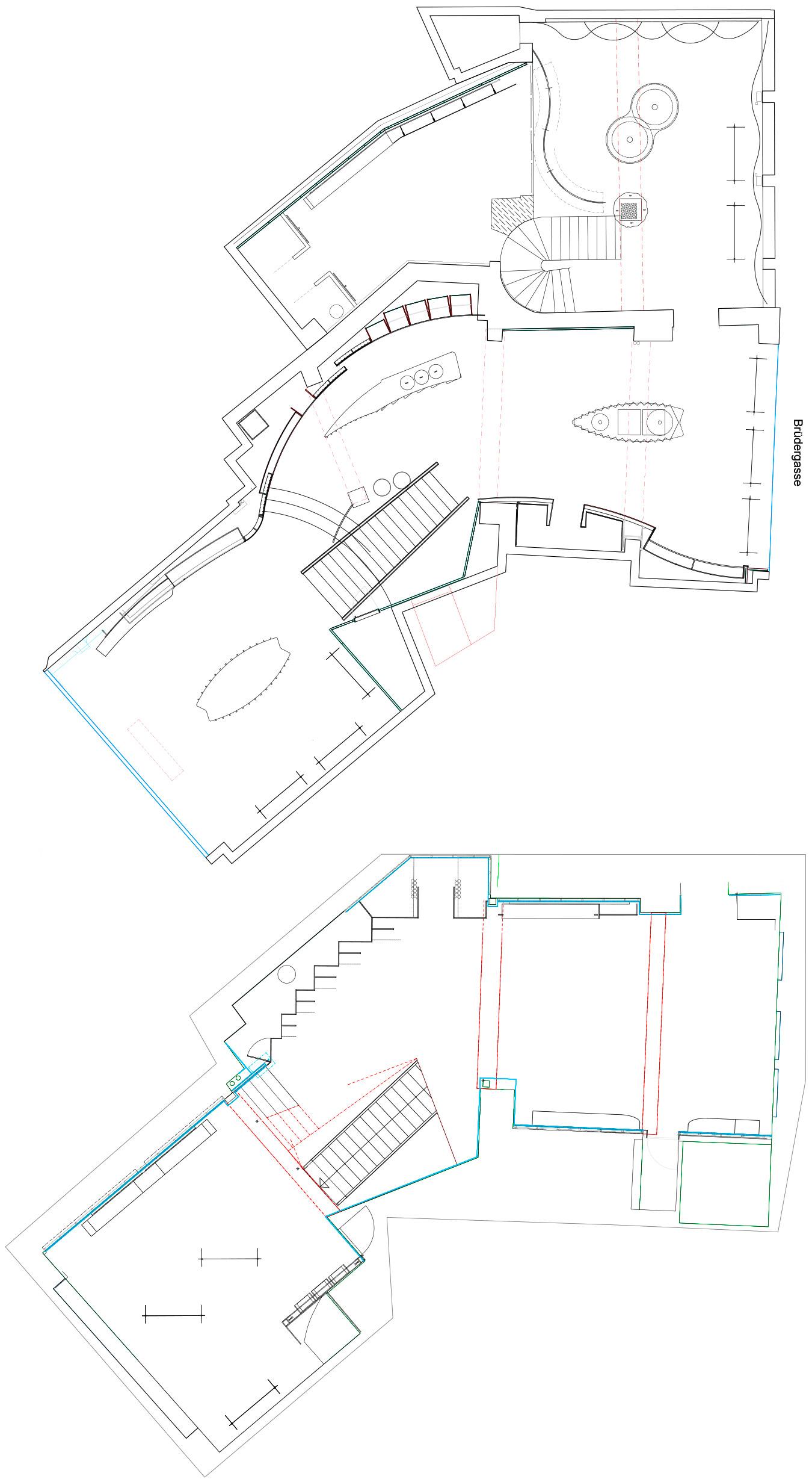 Madaus Design, Robert Ley Damen Store Bonn, Grundrisse erd- und Obergeschoss